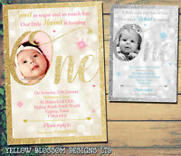 10 Personalised Boy Girl First 1st Birthday Party Photo Invitations Invites Cute