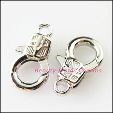 8Pcs Lock Lobster Clasps Connectors Gold Dull Silver Bronze Plated 10x17mm