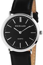 Herren Armbanduhr Schwarz/Silber Black Kunstlederarmband von Excellanc
