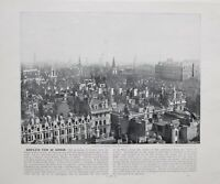 1896 LONDON PRINT WITH DESCRIPTIVE TEXT CITY VIEW SOUTH EAST FROM BOW CHURCH