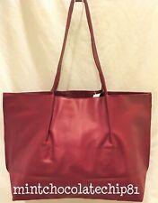 SAKS FIFTH AVENUE Red Faux Leather Shopping Shopper Tote Handbag Purse bag NWT