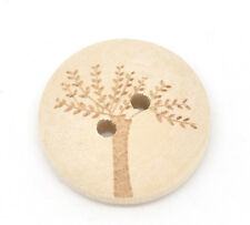 10 Natural Tree of life design Wooden Buttons 20mm Sewing crafts Knitting