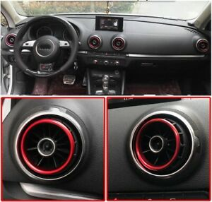 AUDI A3 RS3 8V Heater Air Vent A/C Ring Trim Surround RED UK SELLER