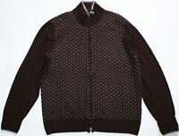 Hackett Cashmere Mix Zip Cardigan - XL Size - Dark Brown Fair Isle Jacket Jumper