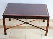 Vintage Art Deco Mahogany Tooled Embossed Leather top Brass Tack Coffee Table
