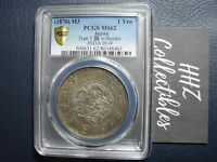 PCGS Gold Shield Japan 1870 Meiji Yr3 One Yen Silver Coin Scarce Date MS62
