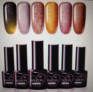 Anzuo Glitter Shimmer Gel Nail Polish Set UV LED soak off nail polish kit New(6)