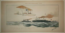 Gamy Original lithographic print poster Raid Paris Boulogne 1912 early aviation