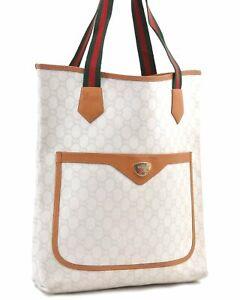 Auth GUCCI Web Sherry Line GG Plus Shoulder Tote Bag PVC Leather White E0019