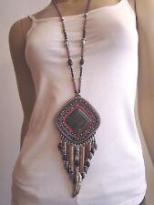 Modekette Damen Hals Kette lang Silber Lila Achat Hippie Ethno Ibiza Boho m98