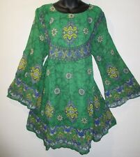 Dress fits XL 1X 2X Plus Chiffon Green Blue Paisley Bell Sleeve Tunic NWT 149