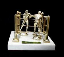 Vintage rare 70s trophy of boxers in a ring mounted on marble base made in Italy