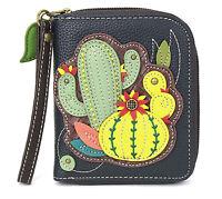 Chala Handbags Cactus Deluxe Zipper Wallet for Women Vegan Leather - Navy Blue