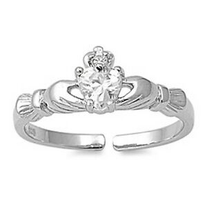 Claddagh Toe Ring Sterling Silver 925 Assorted Colors CZ Face Size 7 mm Jewelry