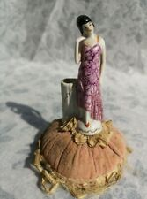 Flapper Girl Art Deco Pin Antique German Bisque Pin Cushion sewing vintage