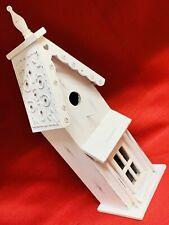 19� Tall White Painted Wood Bird House Feeder Nest