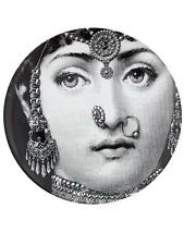 Rare Fornasetti Lina in Indian Jewelry B&W Face Printed Ceramic Plate NIB