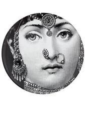 Rare Fornasetti Lina in Indian Jewelry B&W Face Printed Ceramic Plate NIB