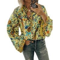 Women Boho Lantern Long Sleeve Loose Tops Ladies Hippie Gypsy Blouse Shirt L7V9