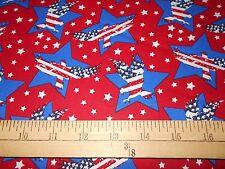 1 yard Santee Eagles in  Stars on Red Patriotic Fabric