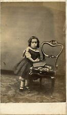 Vintage CDV Photo of Little Girl in Fashion Dress with Big Book  Antique Chair