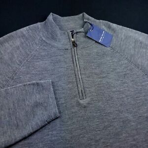 Peter Millar Crown Crafted Wool Quarter Zip Up Sweater Gray Mens Large $265