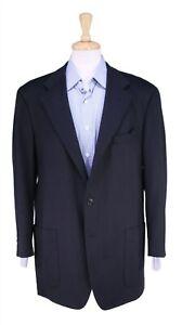 Ermenegildo Zegna Recent Black Flannel Wool Patch Pkt Travel Blazer Jacket 44R