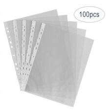 100pcs A4 Clear Plastic Punched Punch Pockets Folders Filing Wallets Sleeves