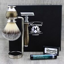 VINTAGE STYLE SHAVING SET |DE Safety Razor & Synthetic Brush stand| Ready to Use