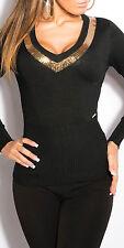 ♥SeXy Miss Pullover Damen Pulli V Dekollete Pailletten 34/36/38 TOP gold schwarz