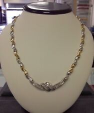 Beautiful 14K Yellow And White Gold Ladies Diamond Necklace