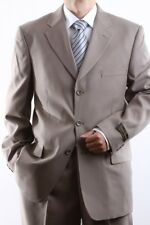 MENS SINGLE BREASTED 3 BUTTON TAUPE DRESS SUIT SIZE 36S, PL-60213-TAU