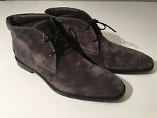 $750 NIB Auth.TOD'S Gray Suede Lace up T Logo Chukka Ankle Boots sz10