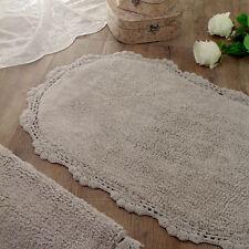 Tappeto bagno Ovale Shabby chic Bordo Crochet Colore Grigio 58 x 85