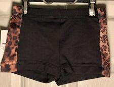CHEER GK MICRO MINI CHILD LARGE LEOPARD PRINT WORKOUT GYMNASTIC DANCE SHORTS CL