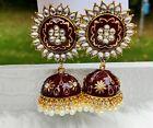 Indian Bollywood Meenakari Kundan Jhumka Earring Gold Plated Women Jewelry Set