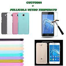 Custodia Cover Gomma tpu Vari Colori + Pellicola Vetro per Huawei Honor 6C