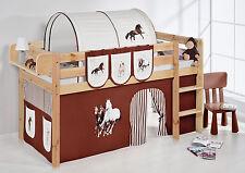 Lit mezzanine de d'enfant Jelle Nature enfants Lilo cheval marron rayures