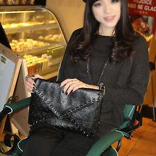 Cool Punk Womens Skull Pattern Rivet Shoulder Bag Wallet Clutch Bag Handbag New