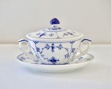 Royal Copenhagen Blue Fluted Plain 2199 Covered Cream Soup Bowl and Saucer