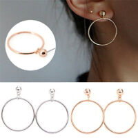 Women Big Circle Hook Drop Earrings Round Ear Stud Dangle Earrings Jewelry SMHN
