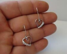 .50 Ct Accents / 36Mm By 17Mm 925 Sterling Silver Dangling Heart Earrings W/