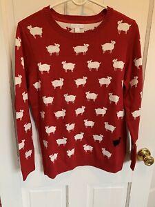 Charter Club Sheep RED BLACK WHITE Long Sleeve Sweater MEDIUM LAMB