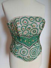 Green  Satin Vintage Handmade Rhinestones Gothic Bustier Waist