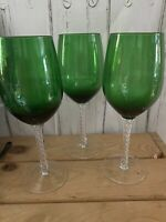 VTG Set Of 3 Emerald Green Hand Blown Wine Glasses Twisted Clear Stem 12oz EUC
