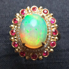 3.64TCW Natural Colorful Opal Ruby Diamond Engagement Ring Solid 18K Rose Gold