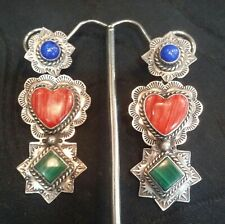 """Vintage Rare Clyde Aguilar Sterling Earrings set Semiprecious Stones 2-1/4"""" Long"""