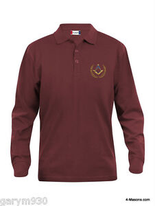 Masonic polo long sleeve with masonic , Freemason  Square and Compasses design