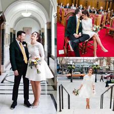 3/4 Sleeve Satin Short Wedding Dresses Knee Length A-line Bridal Gown Plus Size