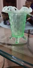 Vintage FENTON Glass Opalescent Green Basket Weave Open Lace Edge Footed Vase